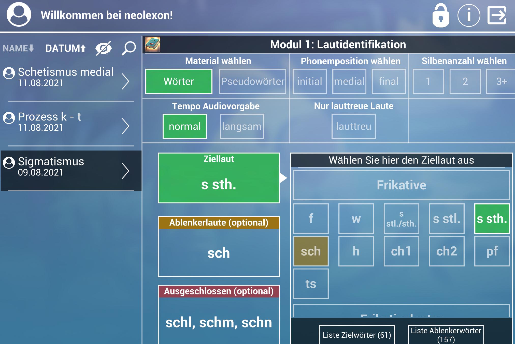 neolexon Artikulations-App Laute einstellen