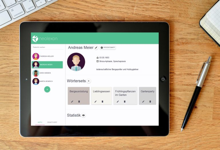 neolexon Therapeuten-App Aphasie am Tablet