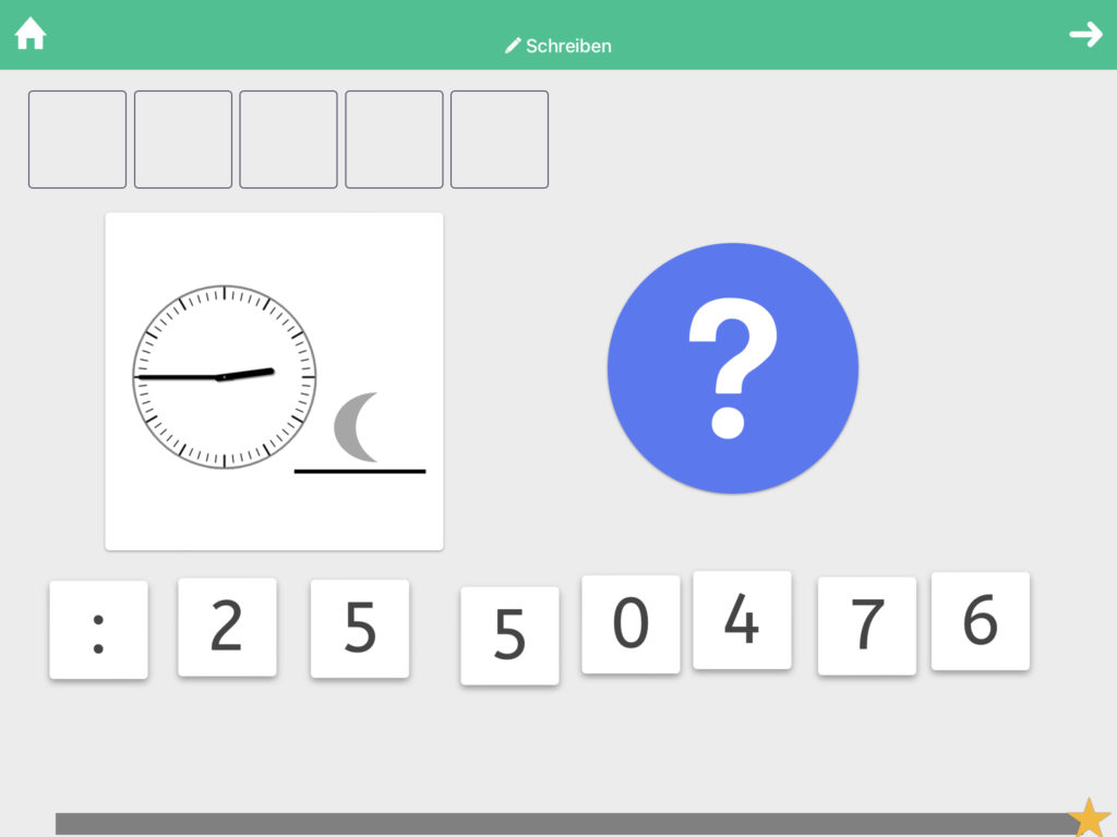Uhrzeit Schreiben neolexon Aphasie-App